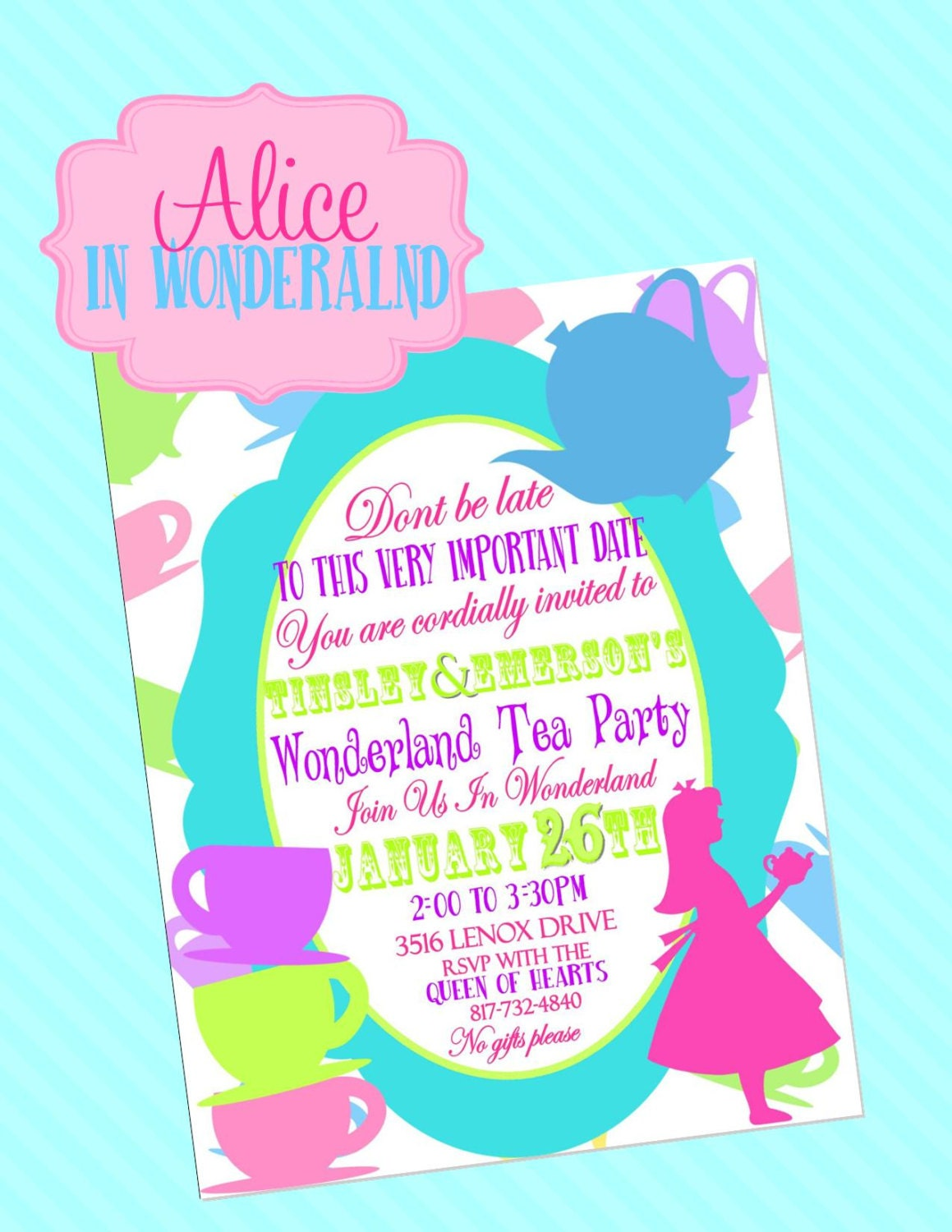 mad hatter invitations girls birthday party by krownkreations