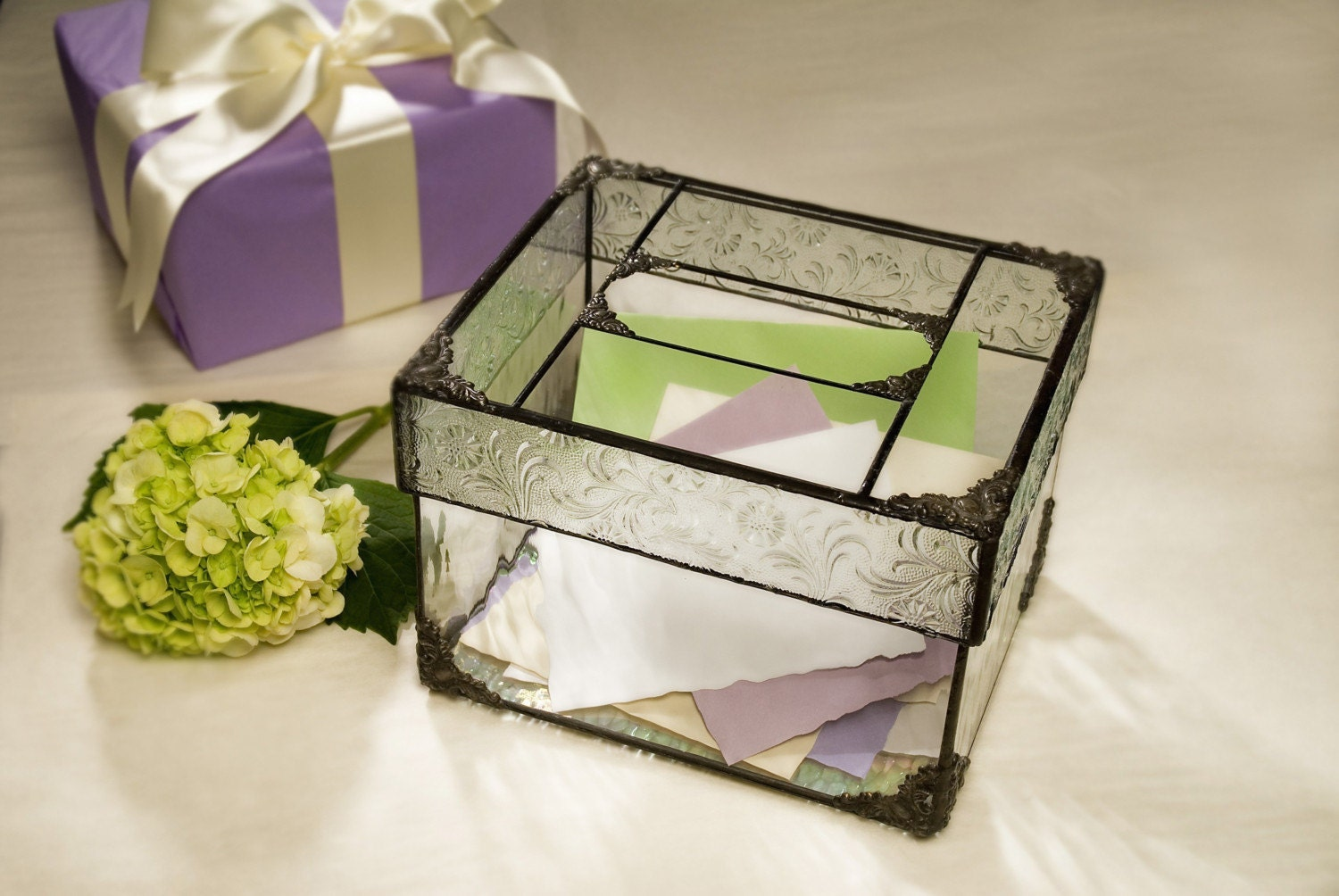 Glass Wedding Gift Box : Elegant Glass Wedding Card Box by mrstildos on Etsy