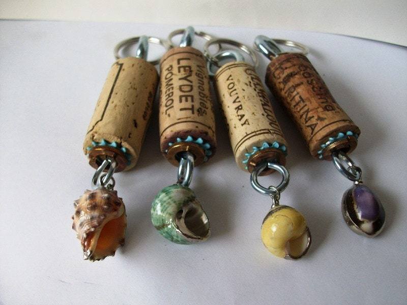 Wine Cork Keychains group of four Beach themed charms from Cannon Beach just for you and your friends - EmsJewelry