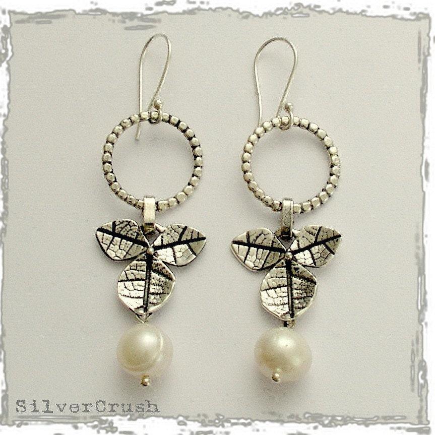 Dangling Pearl Earrings on Sterling Silver Leaf Earrings With Dangling Pearl By Silvercrush