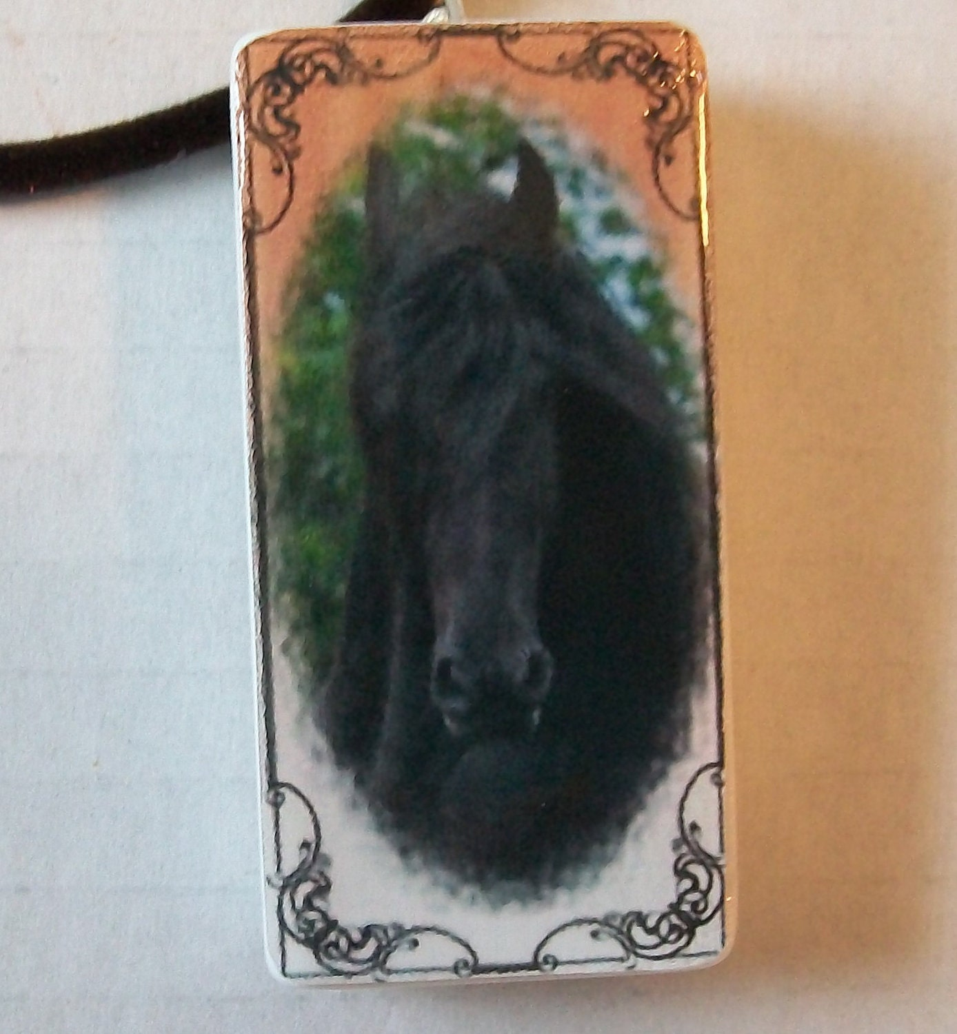 Black Stallion Domino Pendant
