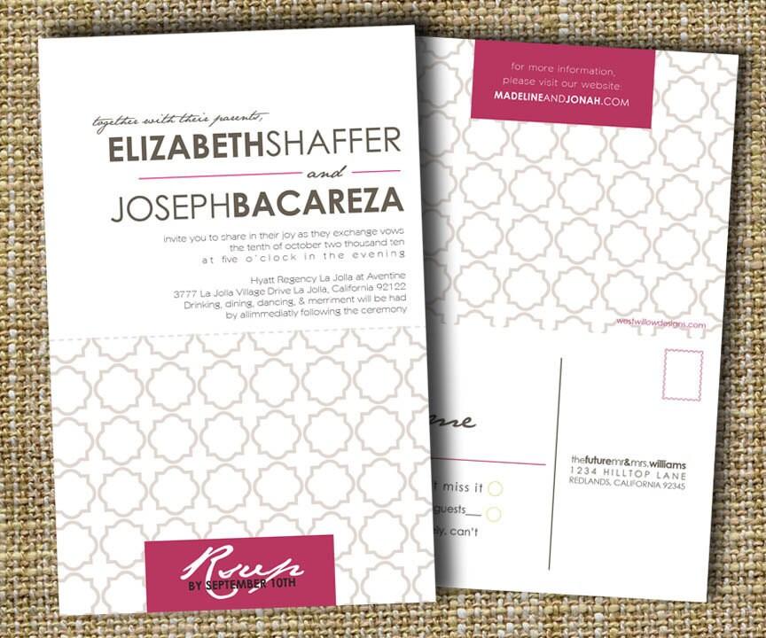 custom perforated wedding invitations with tear off rsvp postcard urban