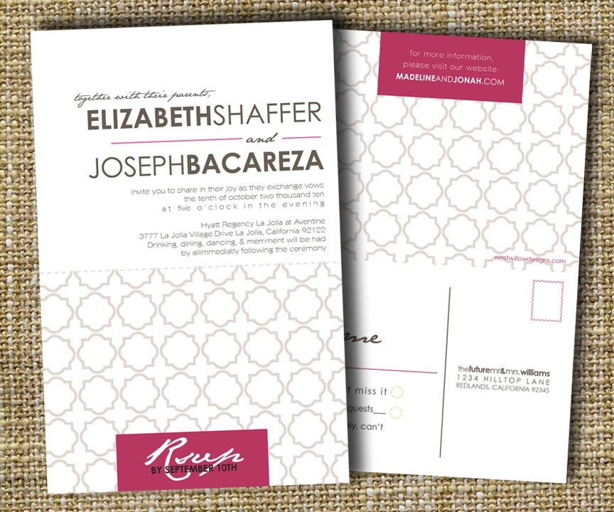 Custom Perforated Wedding Invitations With Tear Off By