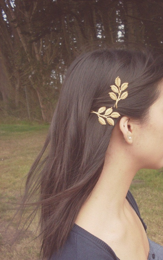 Hair Pins : Gold Leaf Branch Bobby Pins Bridal Hair Pins Bridal Hair Clips Rustic ...