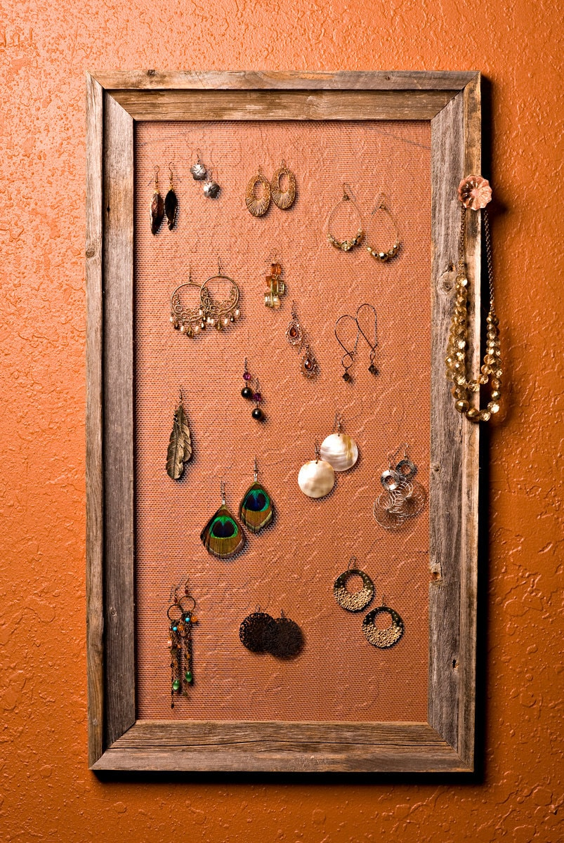 barn wood frame jewelry hanger and organizer large by filafix