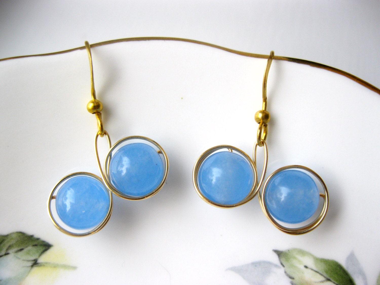 Baby blue Jade gold wire wrapped drop earrings, wire wrapped earrings, gold wire earrings, drop earrings, womens earrings, dangle earrings - LaylasTrinkets