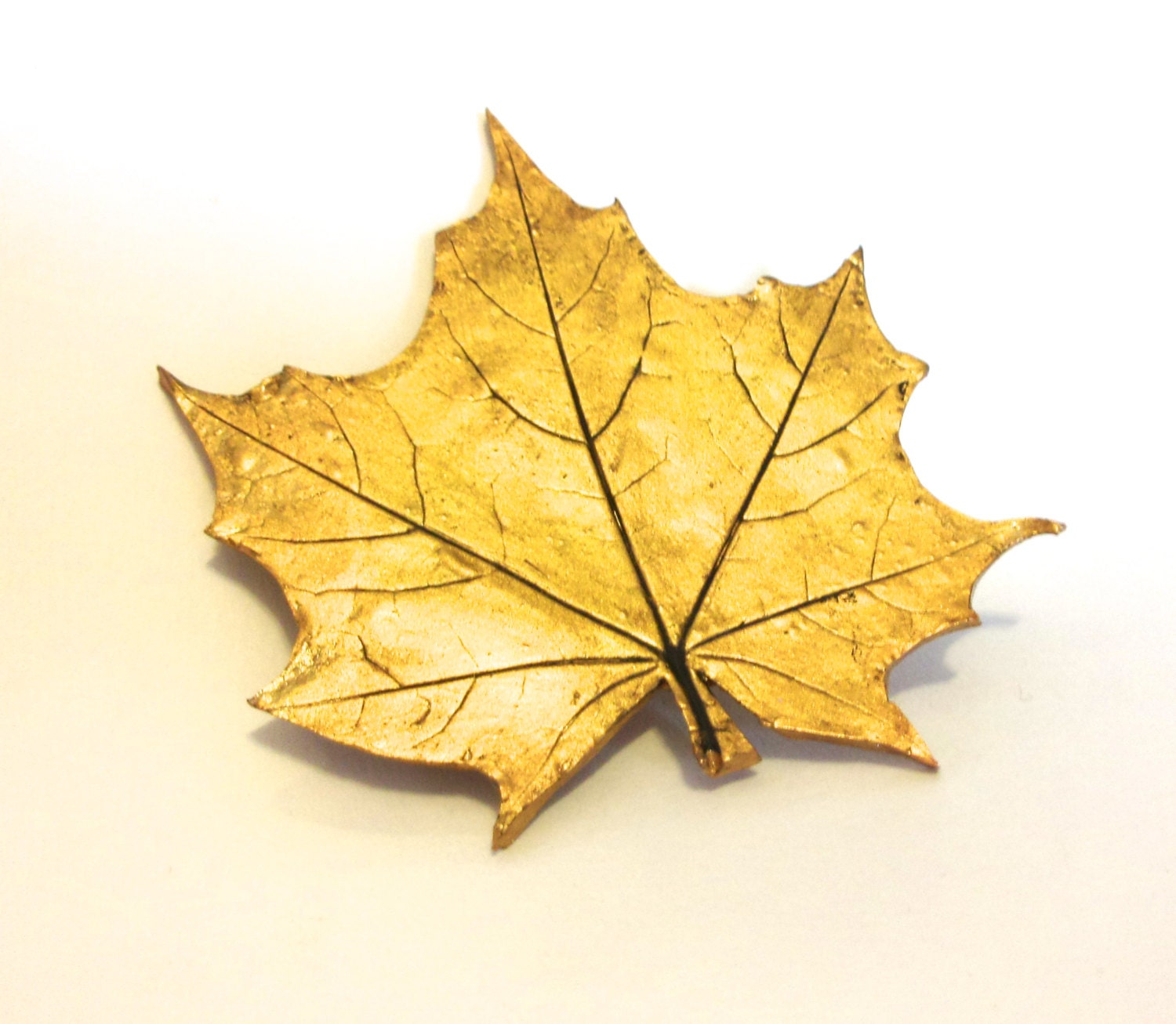 Maple leaf pin- made with imprint of real maple leaf on polymer clay with metallic finish - Sallybateau