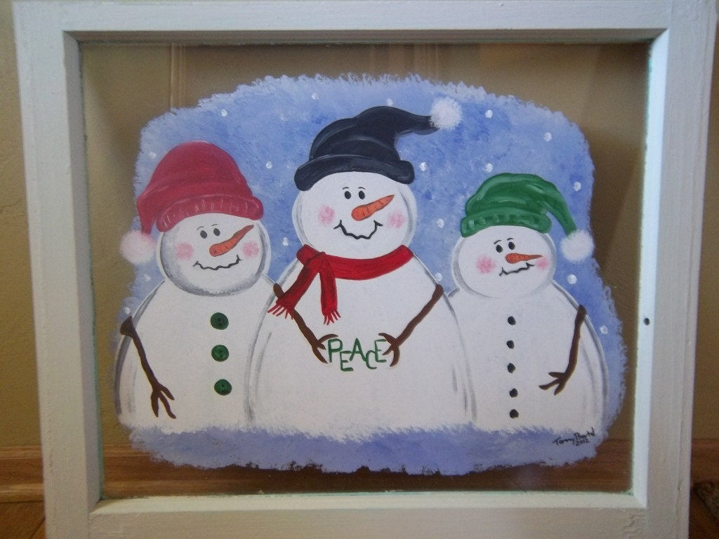 Items similar to snowmen snowman painted painting on for How to paint snowmen