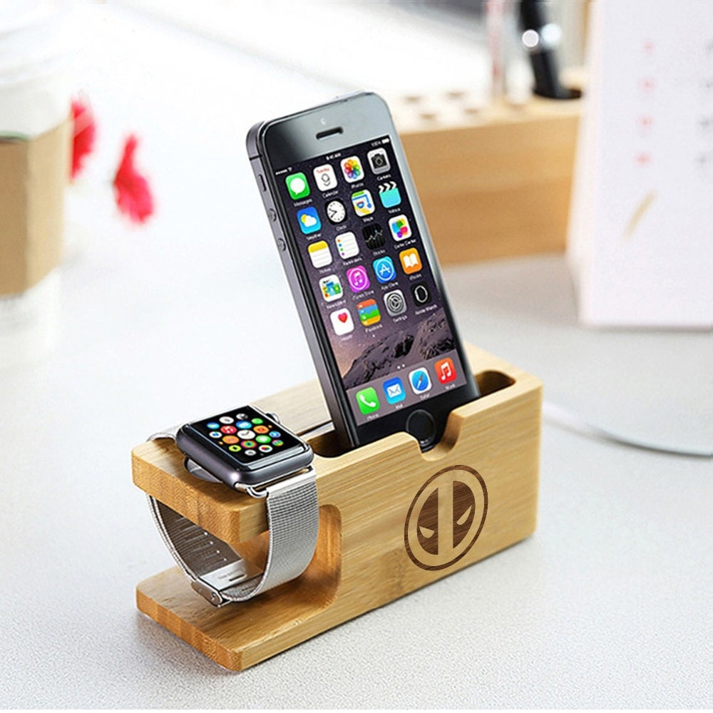 Deadpool Natural Wood iPhone Docking Station Apple Watch Dock Captain America Thor Iron Man Agents of Shield iWatch Holder