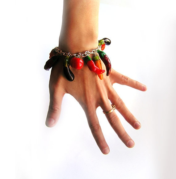 Harvest Bracelet, Red Vegetables Jewelry, Bright Vegetables Bracelet - abrakadabraua