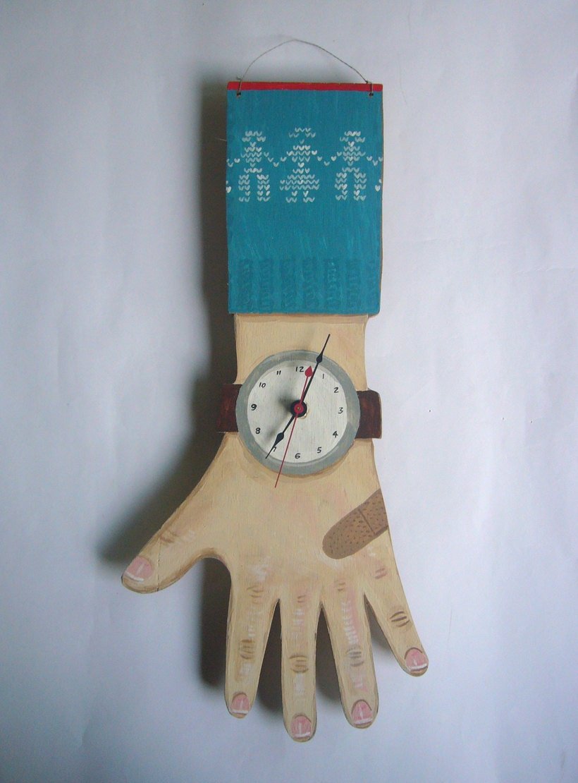 Hand painted Wooden Clock Hand - the teal blue sweater