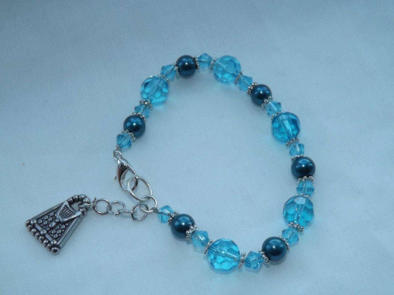 Pretty Turquoise Bead Beaded Bracelet with Charm Girls Bracelet