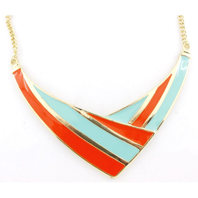 Beautiful Gold-tone Colorful Orange and Blue Funky Statement Necklace - JuliesJewelryStore