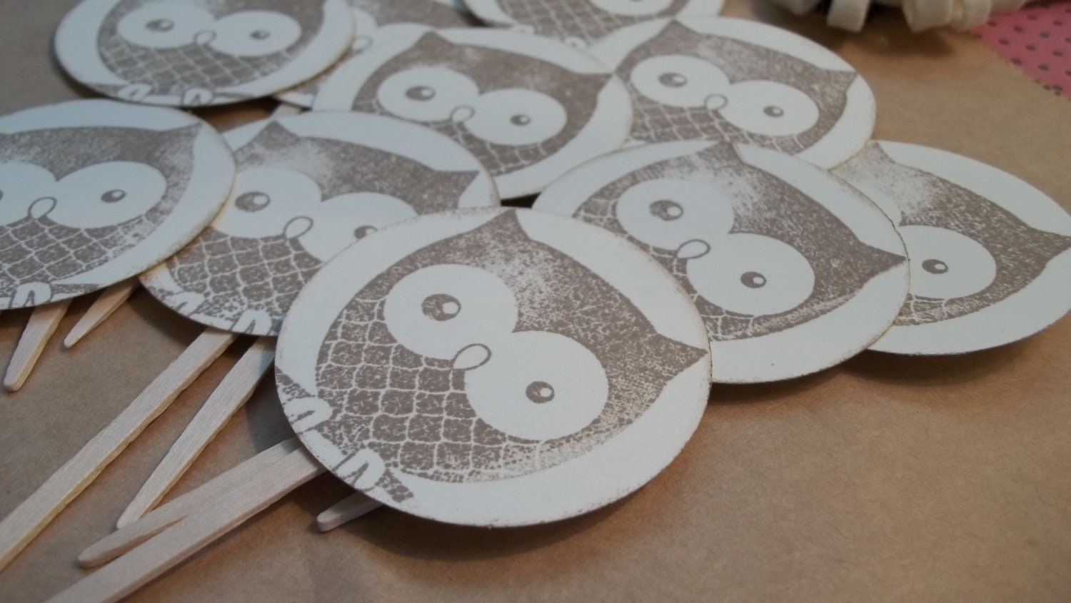 Owl Birthday Baby Autumn cupcake toppers vintage - Zopali