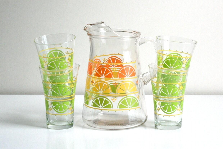 Vintage Libbey Citrus Slices Glass Set - WiseApple