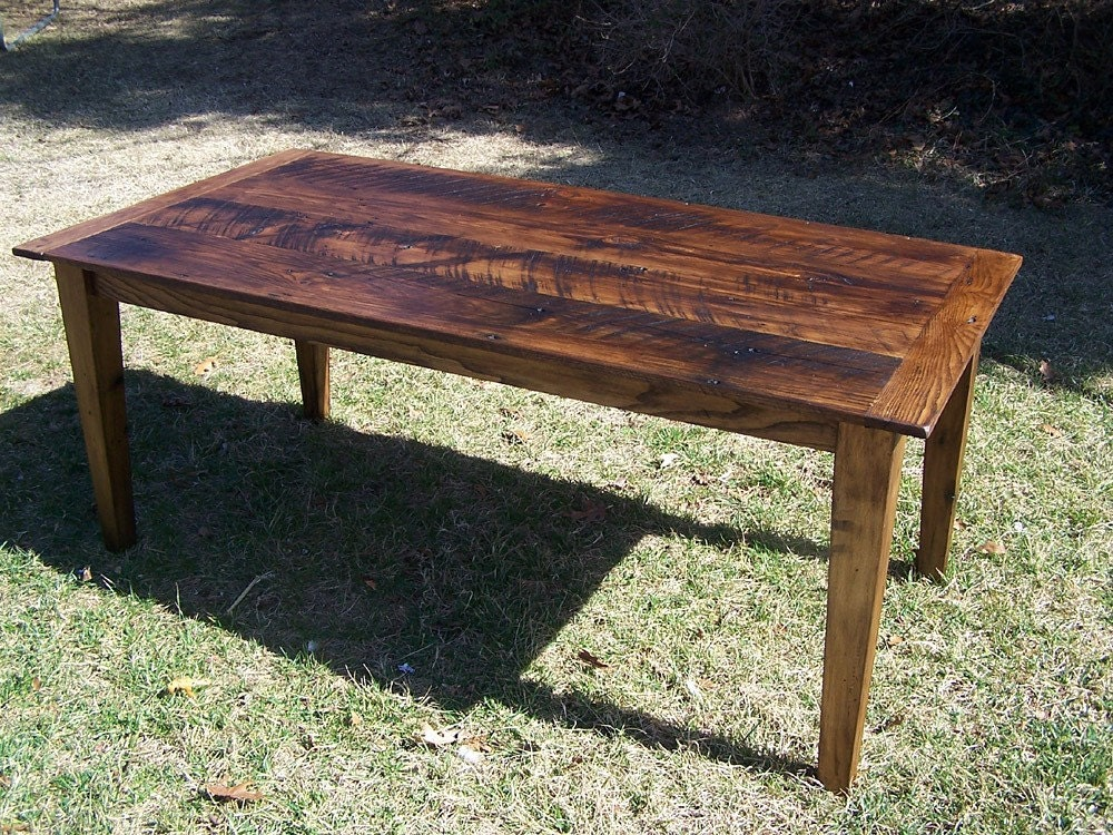 wormy chestnut farm table with extension by barnwoodfurniture