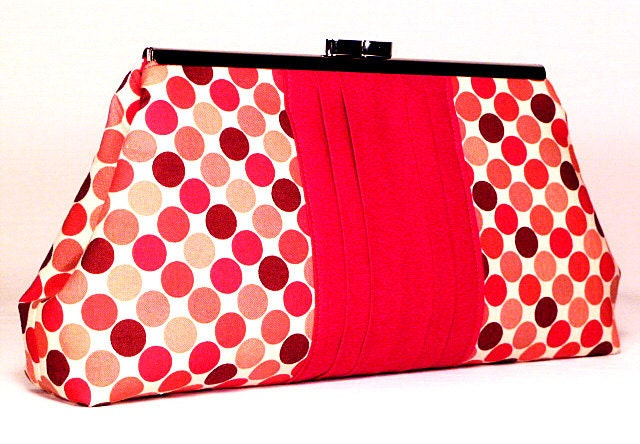 Clutch Bag - Red and Brown Dots (Limited Edition) - CreationsByAngel