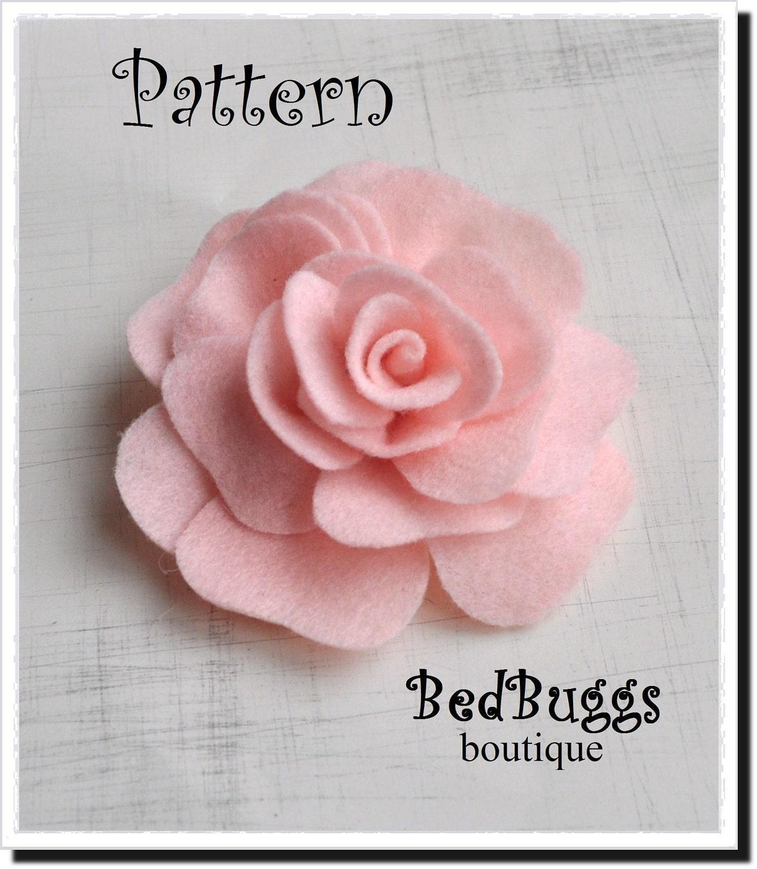 Felt Rose Brooch PDF Pattern Tutorial How To Rose Pillow Hair clip ...
