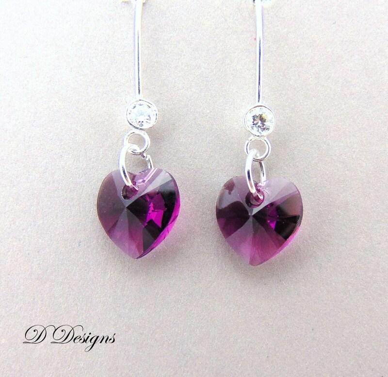 February Birthstone Earrings Purple Heart Earrings Amethyst Jewellery February Gifts Sterling Silver Earrings Amethyst Earrings