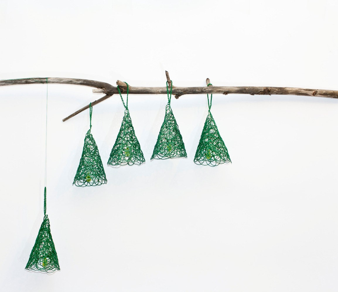 Christmas ornament, abstract pine tree, bell shape, holiday decor in filigree lace style - BalticDecor