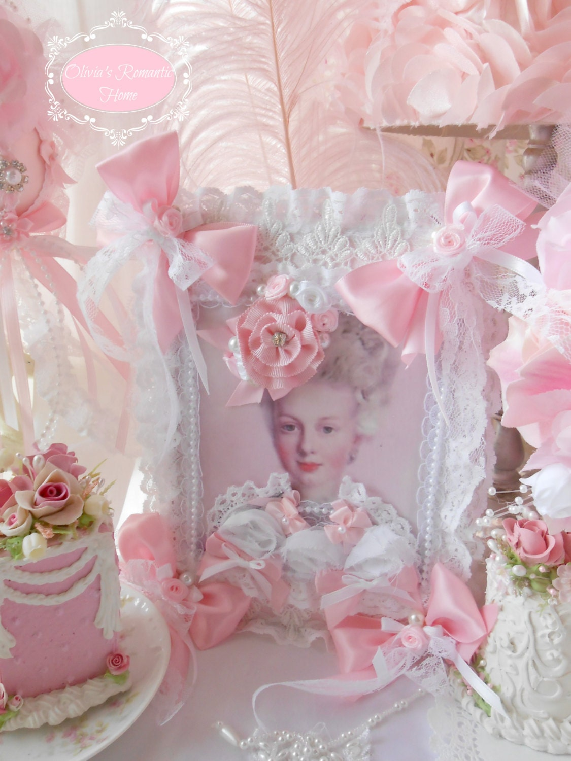 Pink Princess Victorian Lady Marie Antoinette Journal Coffee Table Book Pink Satin Rose Bridal Lace Shabby Chic French Altered art