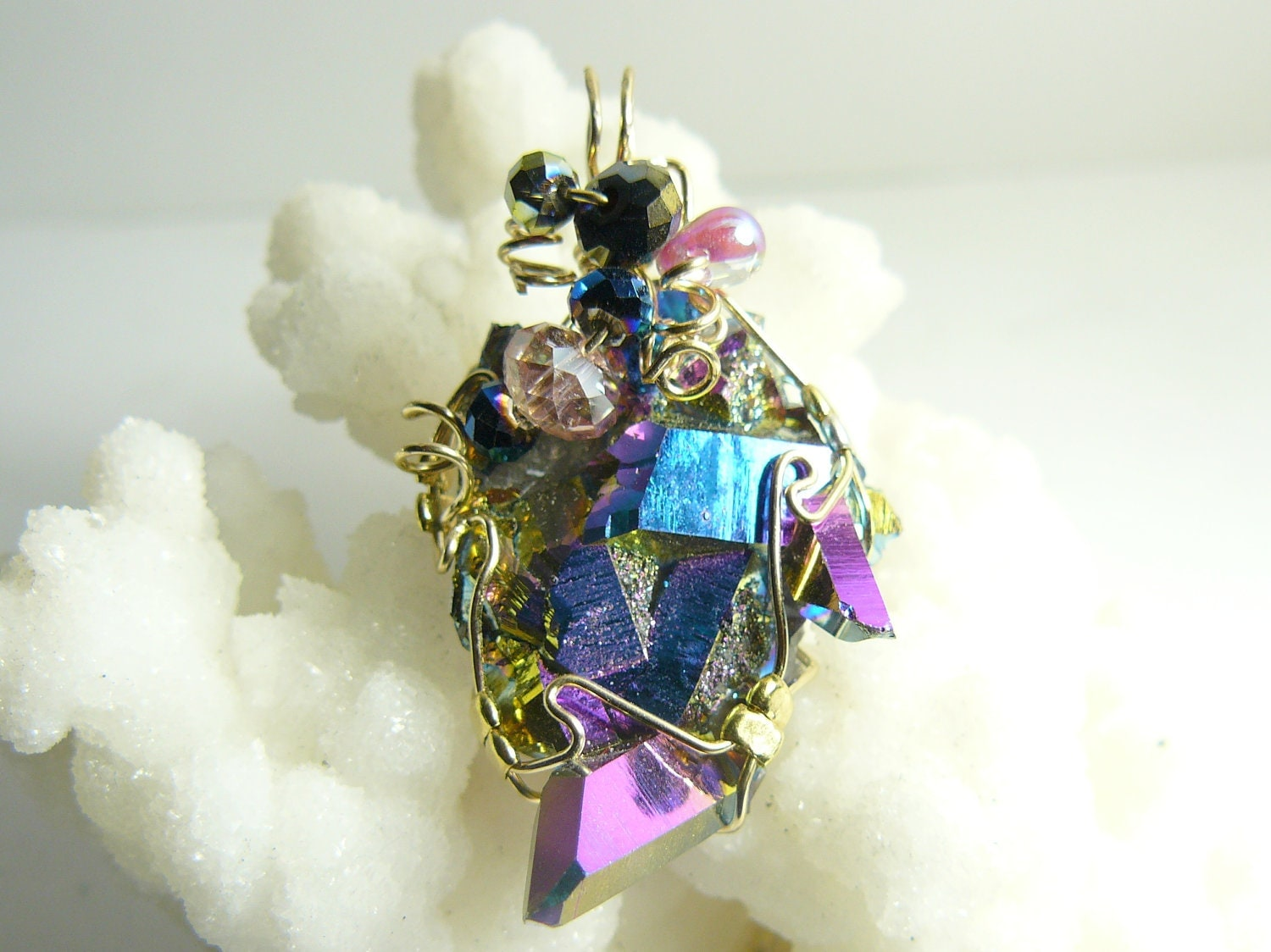 AURORA CRYSTAL Wire Wrapped Pendant wrapped in 14kgf wire