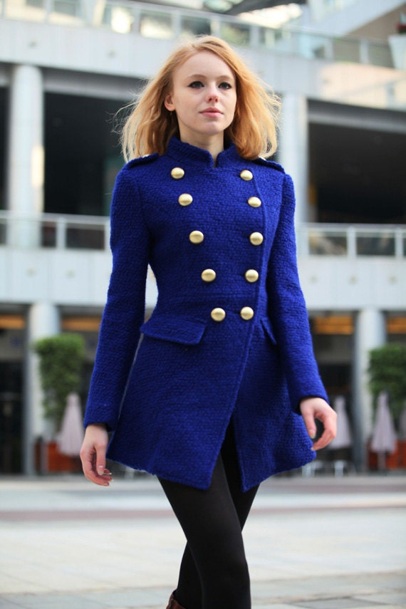 Blue Military Jacket Coat Fitted Army Style Coat Wool Winter Coat For