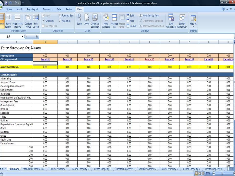 Excel Property Management Template