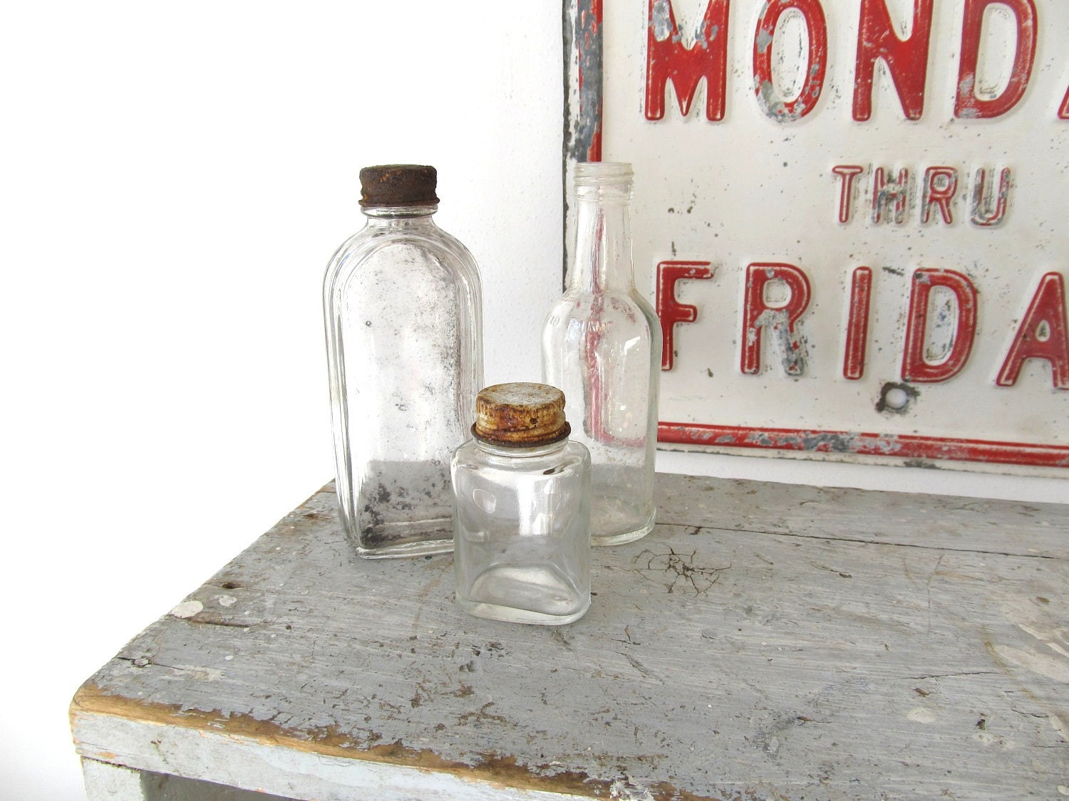 Vintage Glass Bottle Collection Three Clear Glass Bottles - rusticwrenantiques