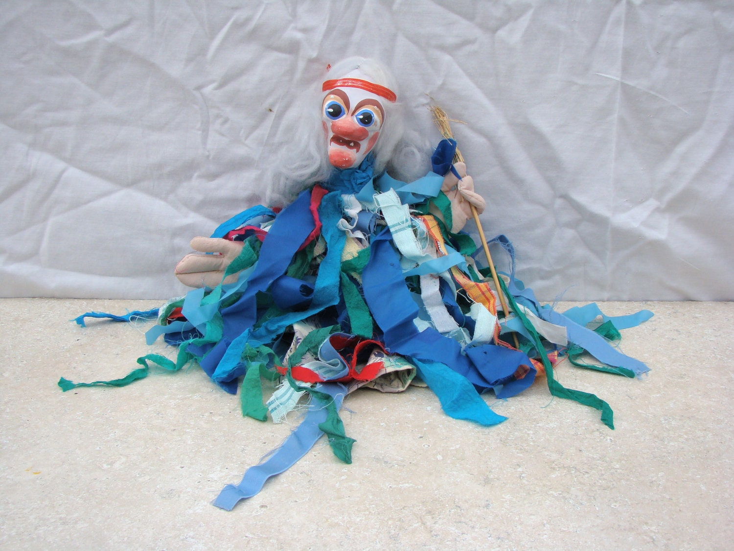 Doll russian witch puppet costume broom fabric ceramic