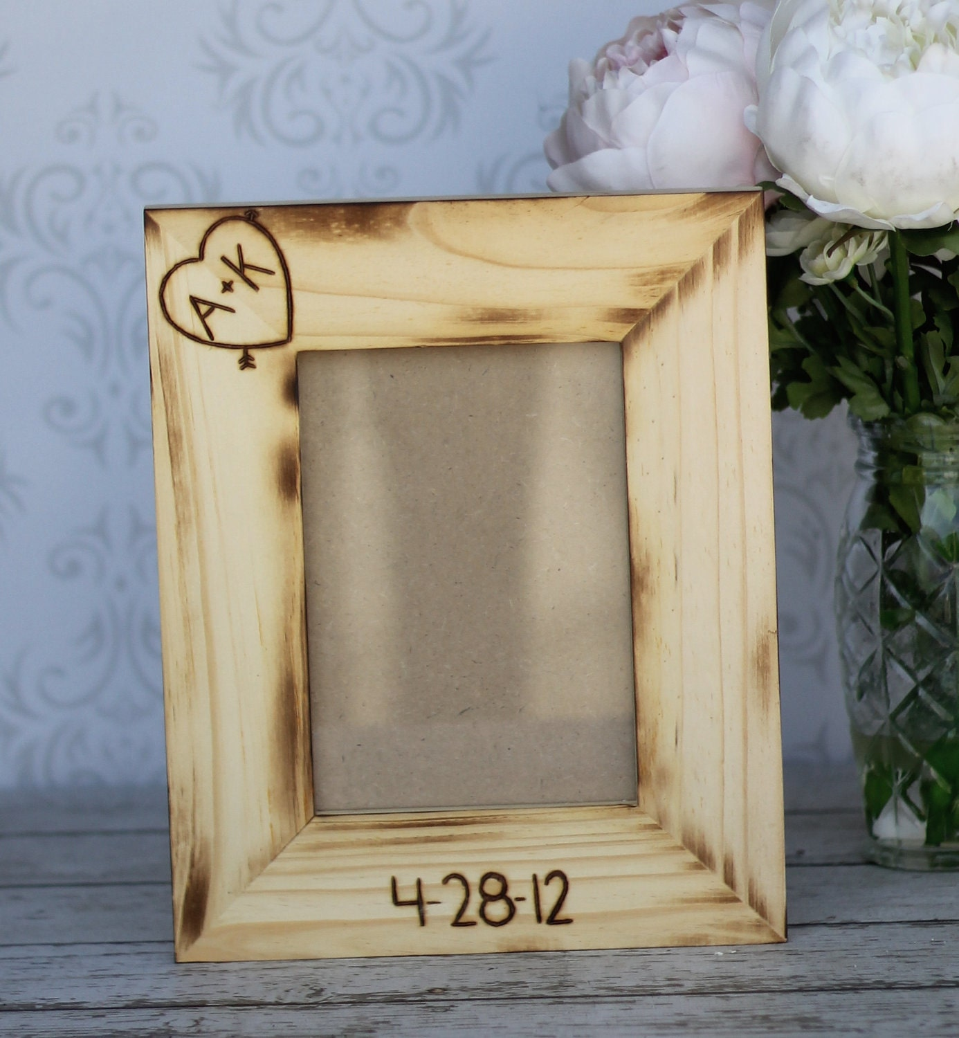 Personalized Wedding Frame Engraved Rustic Wood (item E10369)