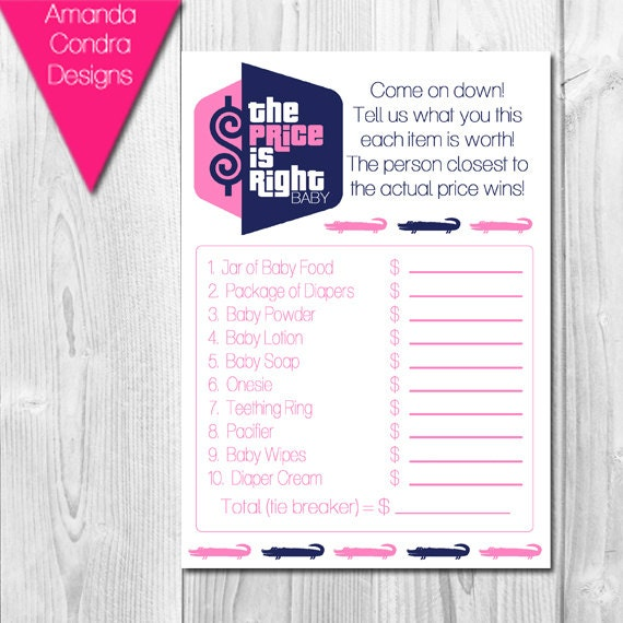 the price is right baby shower game preppy alligator themed navy and