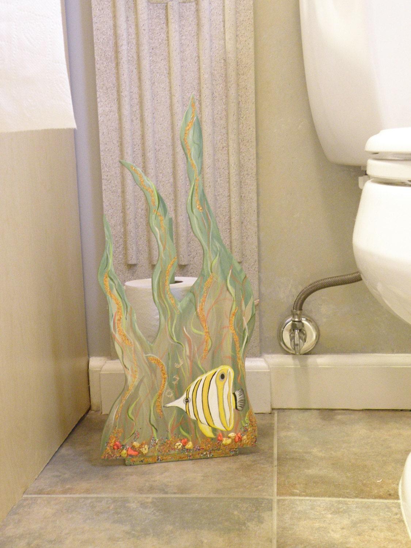 Butterfly fish in seaweed toilet paper holder ocean by capyart - Beach toilet paper holder ...