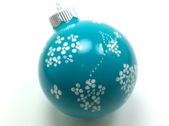 Teal and White Christmas Ornament - LoveMeOrnamentals