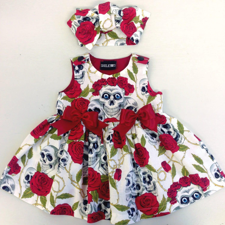 Skeletots skull  rose tattoo dress baby girl goth rockabilly ages 024m