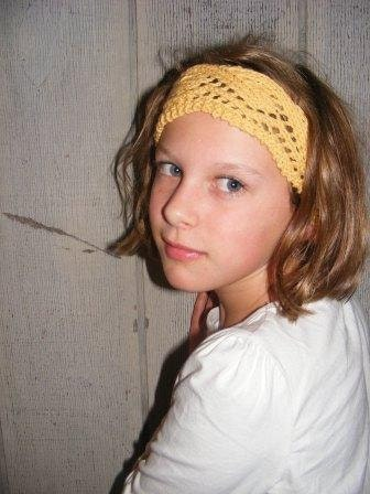 Earthy Yellow Lace Knit Headband, one size fits all