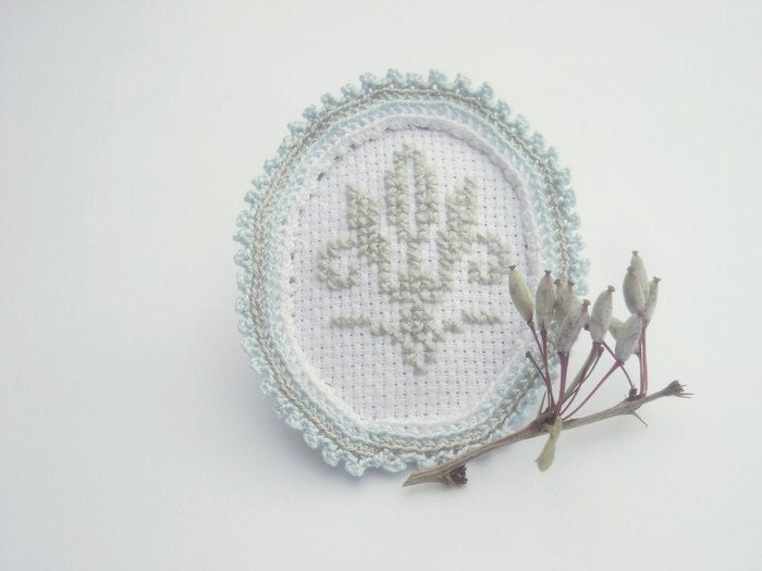 For her, textile jewelry, hand embroidery and crochet brooch, white, blue, gray, cross stitch motif - wincsike