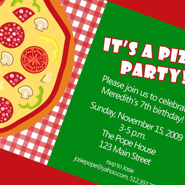 Pizza Party Invitation Printable Invitation by cardsbycarolyn