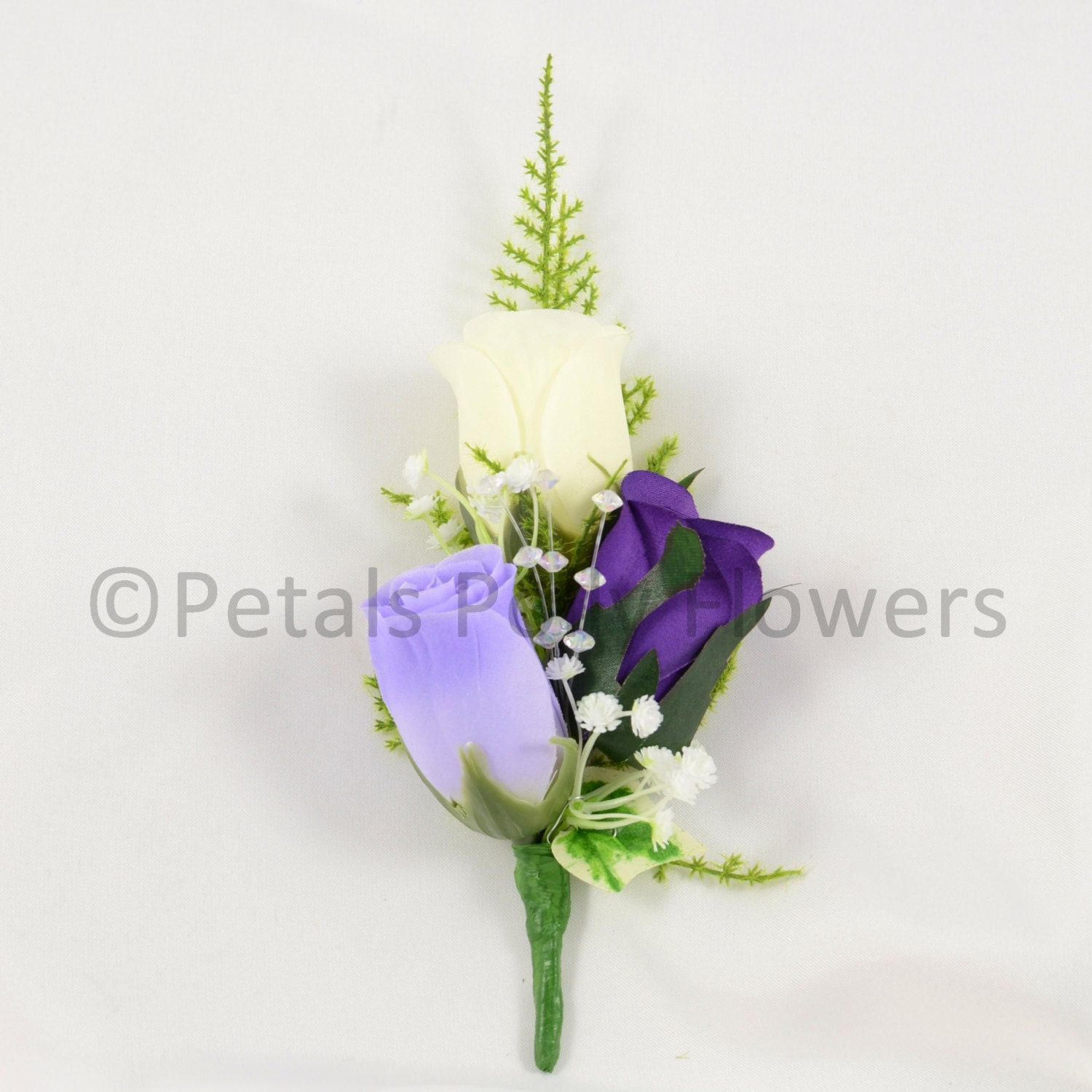 Image of Artificial Wedding Flowers, Purple, Lilac Ivory Triple Rose Gents Buttonhole / Ladies Corsage