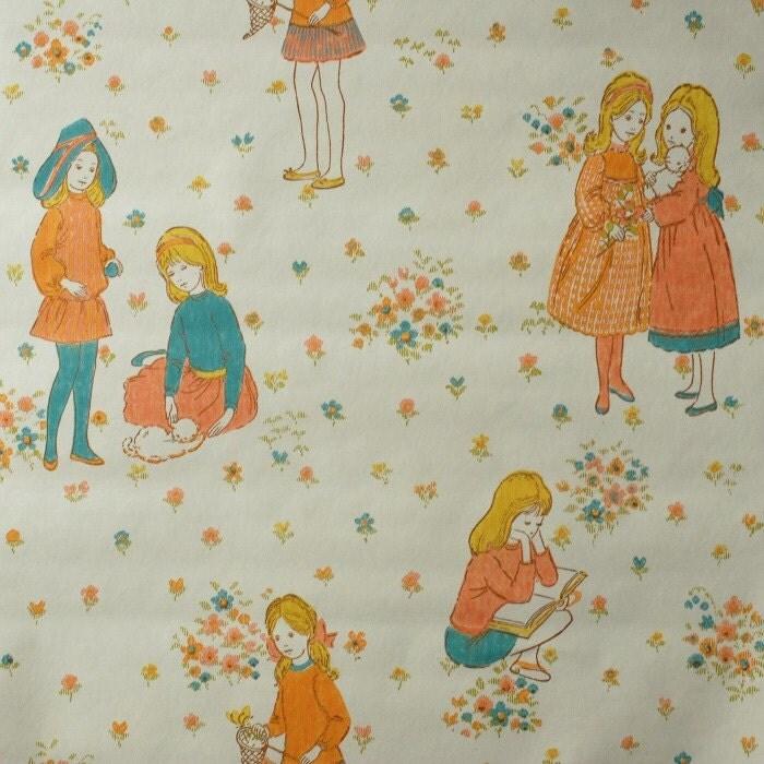 vintage childrens wallpaper 50 cm by frausvensson on etsy