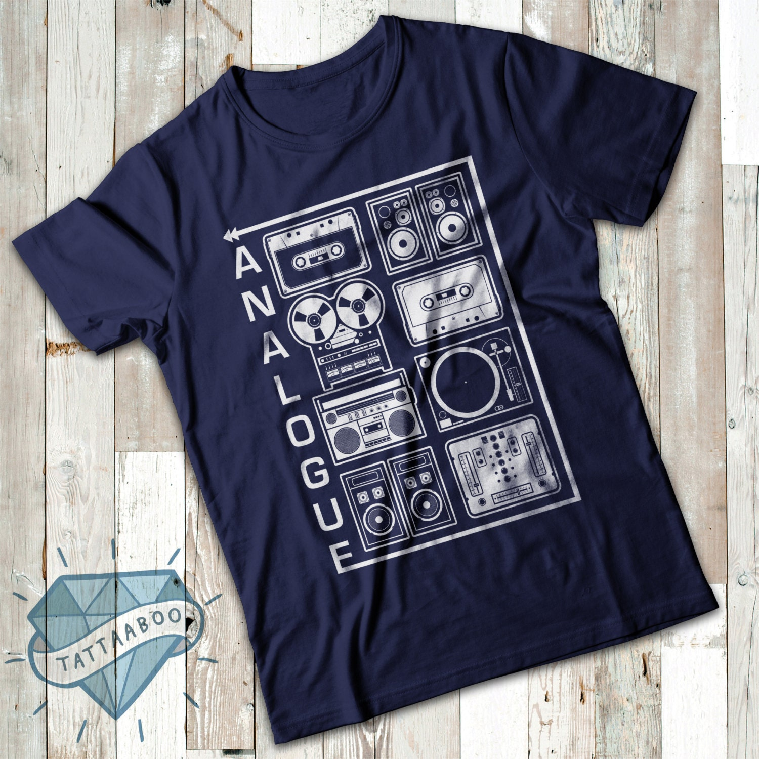 Analogue Audio Equipment Retro Stereo Equipment Tape Cassettes Boom Box HiFi ReelToReel Adults TShirt Tee Top All Sizes And Colours