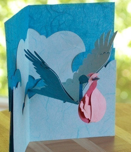 Kirigami stork and baby pop up card make by popupcardmaking for Kirigami paper art