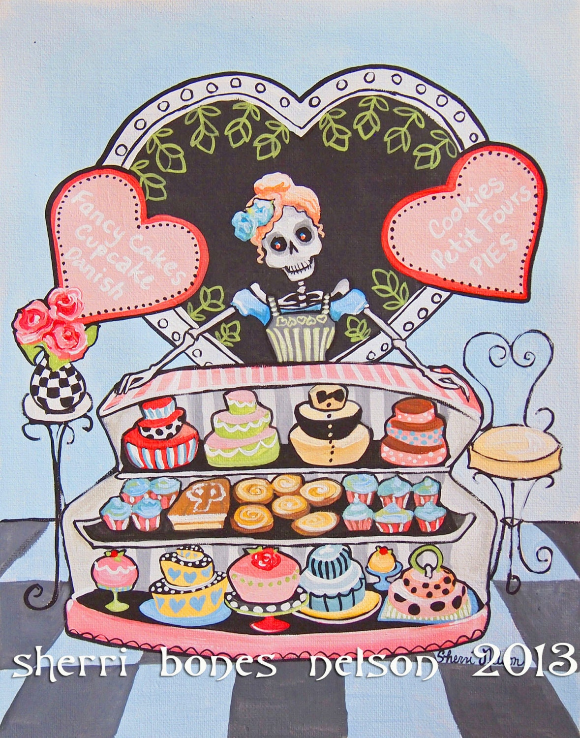 skeleton day of the dead kitchen decor rockabilly