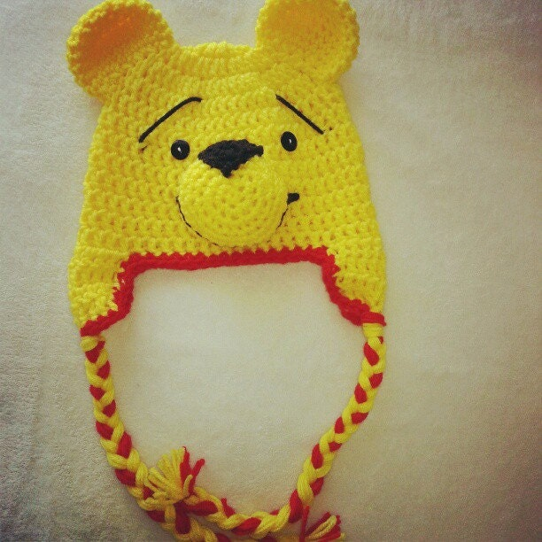 Crochet Pooh Bear Hat Pattern : Crochet Inspired Winnie The Pooh Bear Beanie Hat with by ...