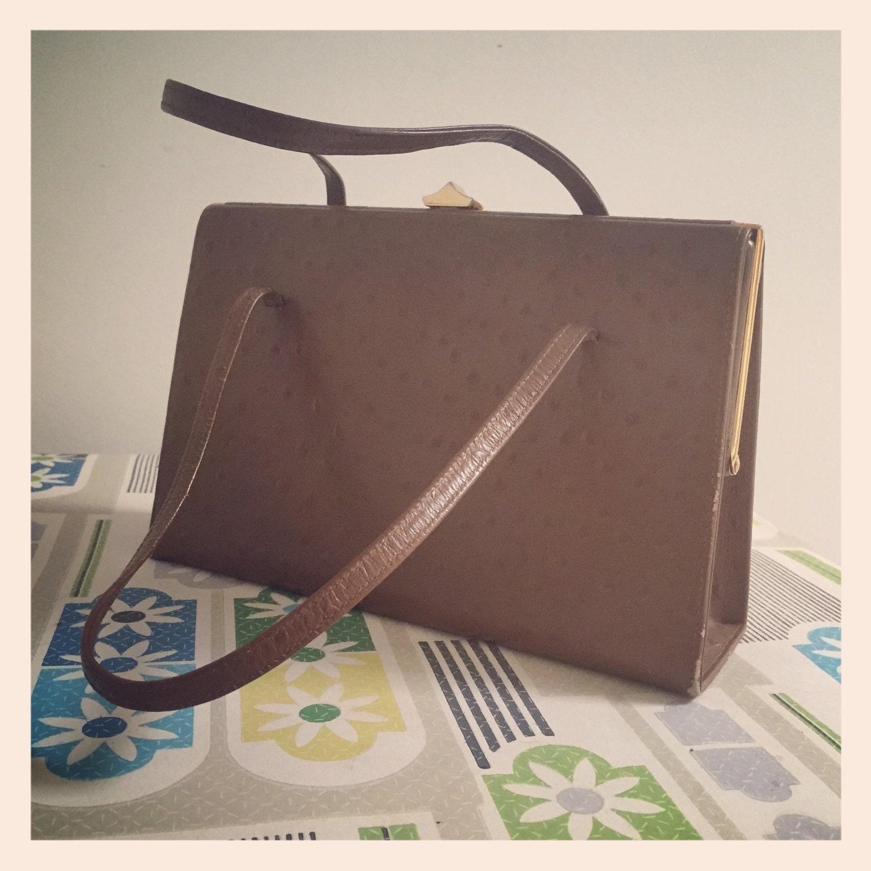 Freedex Tan Leather Ostrich Kelly Bag  1960s