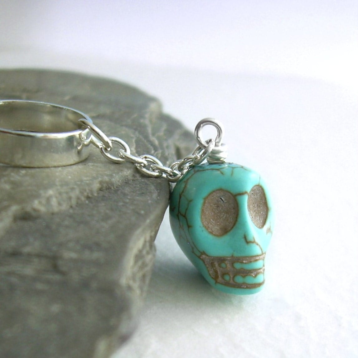 Cartilage Earrings on Turquoise Skull Cartilage Earring Stone Ear Cuff  title=