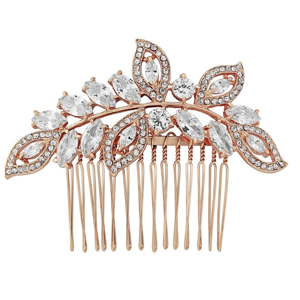 Rose Gold Crystal Vintage Bridal Hair Combslide bridal hair piece  vintage hair bridal glamour bridal accessories