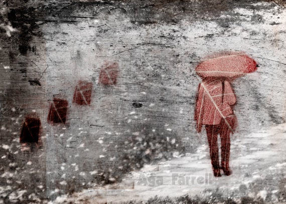 Deja vu Print - Surreal Photography, Red Umbrella, Street Art, Woman, Black and White Print, 8x12, Oxblood, Rainy Day Photo - AgaFarrell