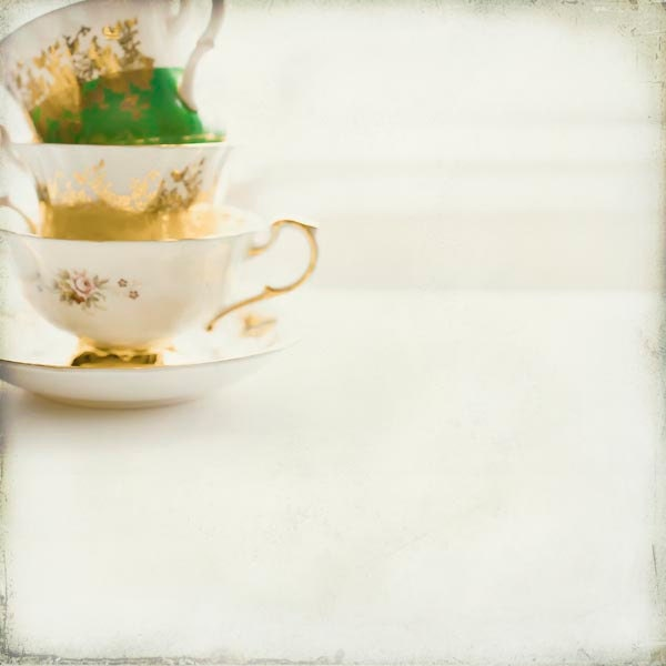 Tea cup photography, mid century modern kitchen, white, emerald green, yellow, gold, wall decor, shabby chic, vintage cups - Raceytay