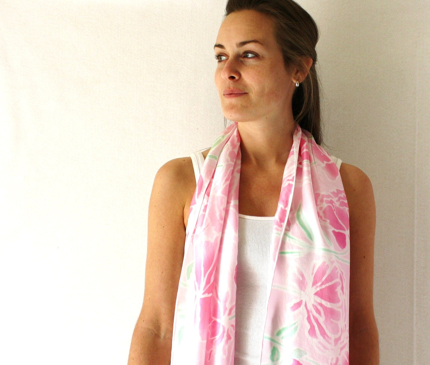 Silk Scarf. Peonies Spring Fashion- hand painted